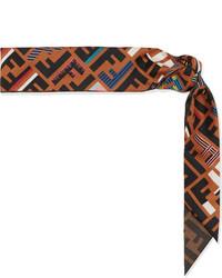 Fendi Printed Silk Twill Scarf Brown