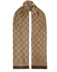 Gucci Sten Reversible Intarsia Wool Scarf