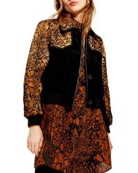 Topshop Animal Print Leather Genuine Calf Hair Jacket