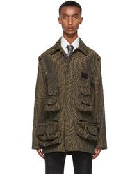 Fendi Brown Canvas Ff Vertigo Jacket
