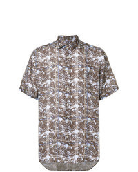 Brown Print Short Sleeve Shirt