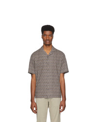 Z Zegna Brown And Navy Pattern Short Sleeve T Shirt