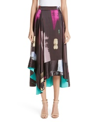 Roksanda Paint Print Silk Satin Midi Skirt