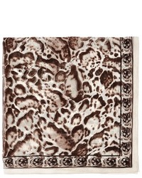 Nobrand Leopard And Skull Print Silk Scarf