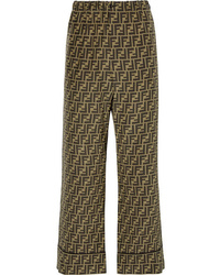 Fendi Cropped Printed Silk Satin Wide Leg Pants