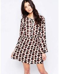 Brown Print Skater Dress