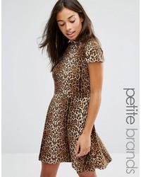 Glamorous petite allover leopard high neck skater dress medium 1009371
