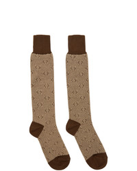 Brown Print Socks