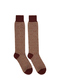 Gucci Red Piquet Knit Gg Socks