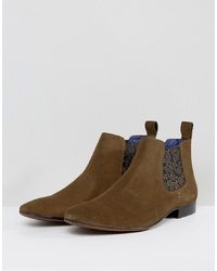 Brown Print Suede Chelsea Boots