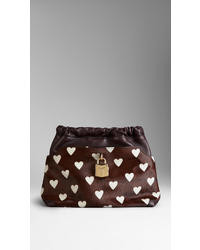 The little crush in heart print calfskin and leather medium 12082