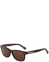 Ermenegildo Zegna Square Tortoise Print Plastic Sunglasses Dark Havanaroviex