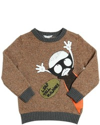 Little Marc Jacobs Superhero Printed Cotton Tricot Sweater