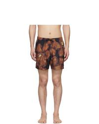 Dries Van Noten Black And Orange Phibbs Floral Swim Shorts