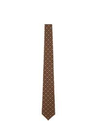 Gucci Brown And Burgundy Silk Gg Horsebit Chain Tie