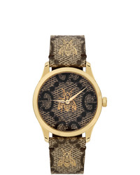 Gucci Gold And Beige G Timeless Bee Watch