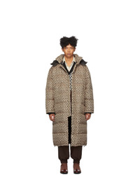 Gucci Black And Beige Down Mini G Rhombus Coat