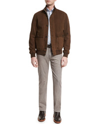 Full grain suede button down jacket cognac medium 578196