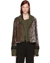 Haider Ackermann Brown Quilted Velvet Jacket