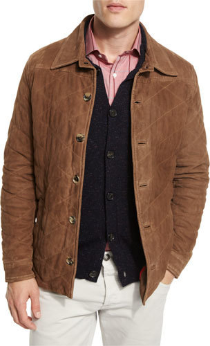 129ee93cae ... Brown Quilted Suede Jackets Isaia Quilted Suede Shirt Jacket Tan ...