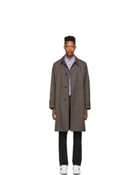 Paul Smith Navy And Brown Contrast Plaid Coat