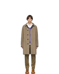 Lanvin Navy And Taupe Virgin Plaid Reversible Coat