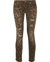 R 13 R13 Kate Distressed Low Rise Leopard Print Skinny Jeans Leopard Print