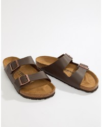 Birkenstock Arizona Birko Flor Sandals In Dark Brown