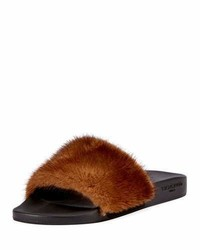 Givenchy Mink Fur Slide Sandal Brown
