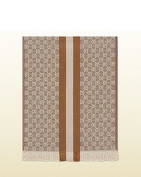 Gucci Gg Jacquard Knit Scarf With Web And Fringe
