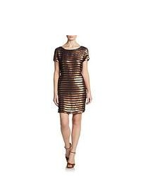 French connection sequin striped shift dress bronze navy medium 108318