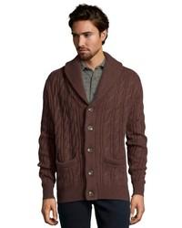 Jachs Grey Wool Blend Cable Knit Shawl Collar Cardigan