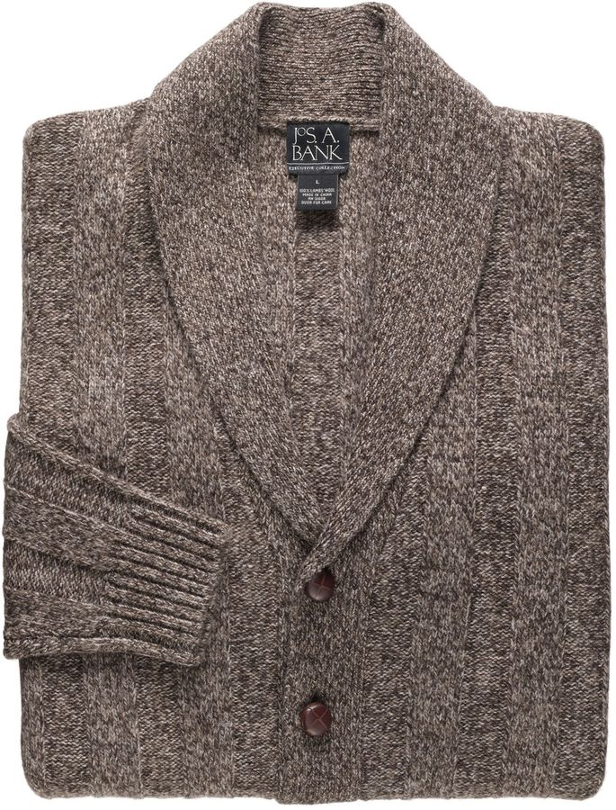 A. Bank Lambswool Shawl Collar Cardigan Sweater