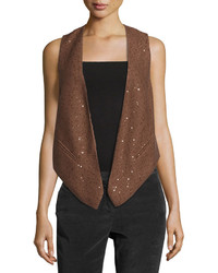 Brunello Cucinelli Sequined Open Sweater Vest Tobacco