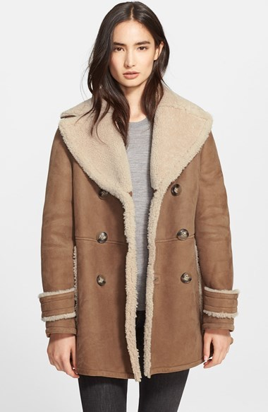 Burberry Brit Drakefield Double Breasted Genuine Shearling Coat ...
