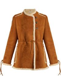 Collarless shearling coat medium 5375302