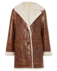 Yves Salomon Cracked Glossed Shearling Coat