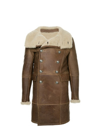 Balmain Shearling Double Breasted Coat