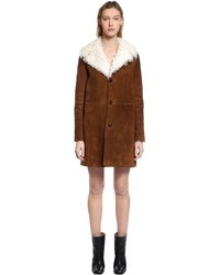 Saint Laurent Suede Curly Shearling Coat