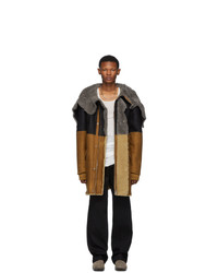 Rick Owens Tan And Black Brother Parka