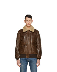 Schott Brown Leather Bomber Jacket