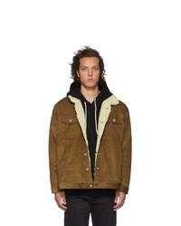 Naked and Famous Denim Brown Oversized Sherpa Jacket