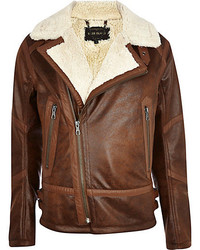 River Island Brown Shearling Jacket