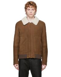 Yves Salomon Brown Shearling Suede Jacket