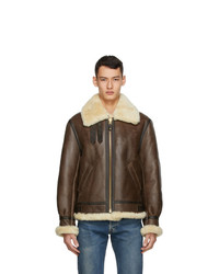 Schott Brown Sheepskin And Fur B 3 Jacket