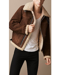 Burberry Sueded Sheepskin Aviator Jacket
