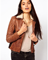 Doma Leather Biker Jacket With Shearling Collar And Quilted Sleeves