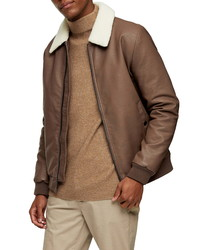 Topman Faux Shearling Collar Faux Leather Flight Jacket
