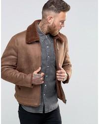 Asos Faux Shearling Jacket In Brown