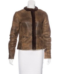 Prada Fur Trimmed Shearling Jacket